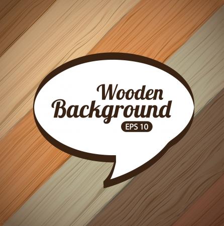 illustartion: wooden design over wood background vector illustartion