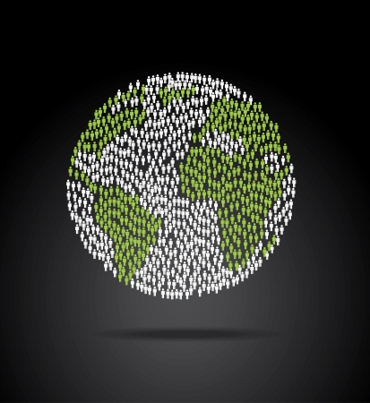 Humane: world population over black background vector illustration  Illustration