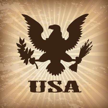 eagle usa over vintage achtergrond vector illustratie