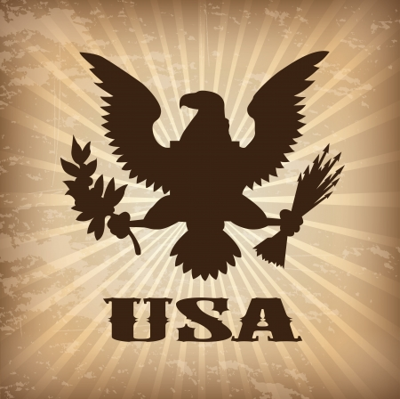 eagle usa over vintage background vector illustration Vector
