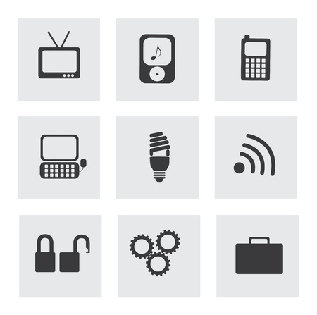 technology icons over gray background vector illustration  Vector