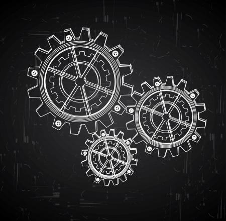 tandwielen, ontwerp op zwarte achtergrond vector illustratie