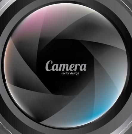 hypocenter: camera lens over  black background vector illustration  Illustration