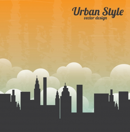 clouding: urban style over sky background vector illustration