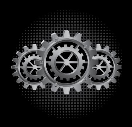 versnellingen ontwerp over zwarte achtergrond vector illustratie