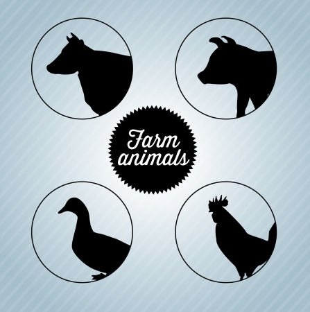 farm animals silhouettes over blue background vector illustration  Vector