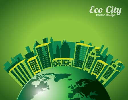 eco city over green background vectro illustration Vector