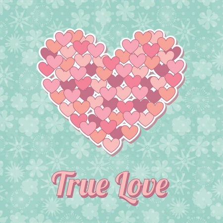 true love over floral background vector illustration Vector