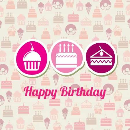 happy birthday design over pastry  background vector illustration  Stock Vector - 20500413