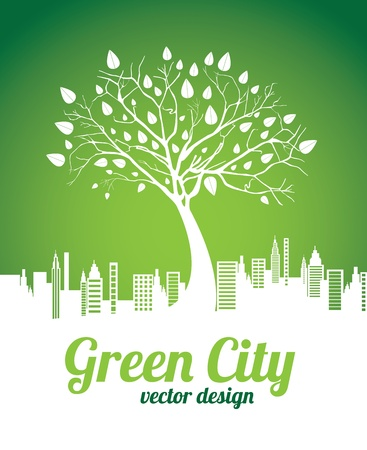 eco building: green city over green background vector illustration