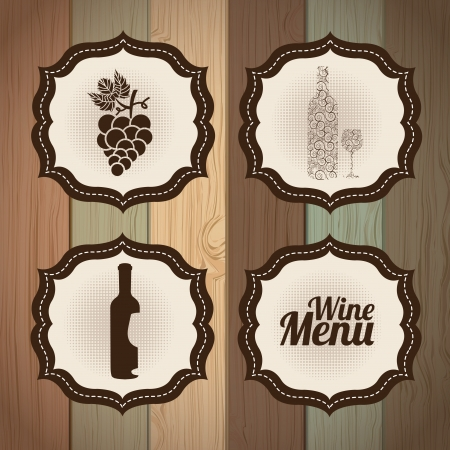 wine frames over wooden background vector illustration Stock Vector - 20493298