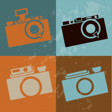 photography icon: camera design over vintage background vector illustration