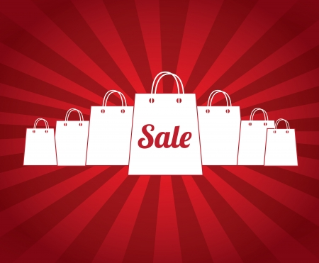 pricetag: sale bags over red background vector illustration