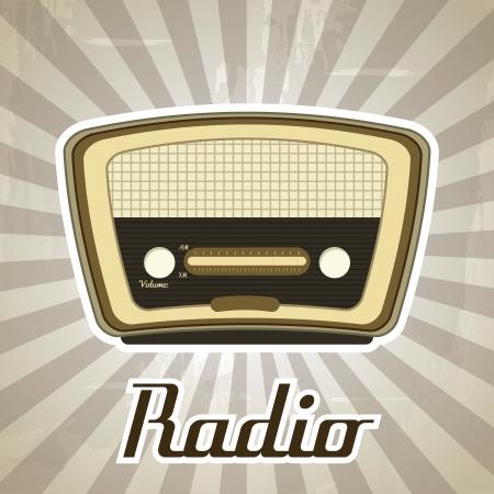 radio retro over grunge background vector illustration  Vector