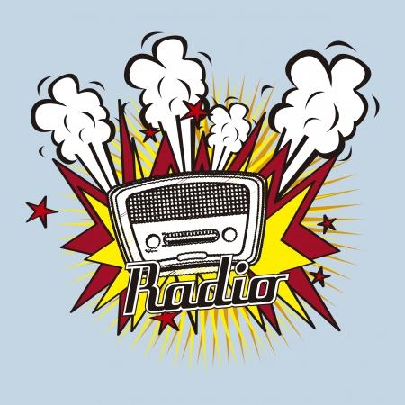 old radio: radio retro over blue background vector illustration
