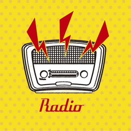 tuner: radio retro over dotted background vector illustration  Illustration