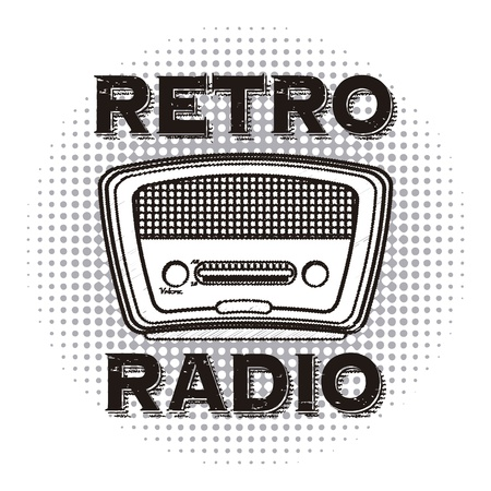 shortwave: radio retro over dotted background vector illustration  Illustration