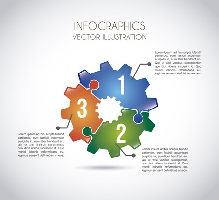 pine three: infographics gears over gray background vector illustration  Illustration
