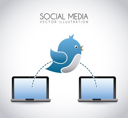 social media over gray background vector illustration Vector