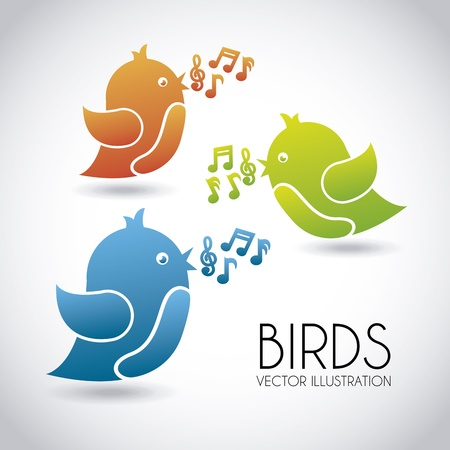birds design over gray background vector illustration