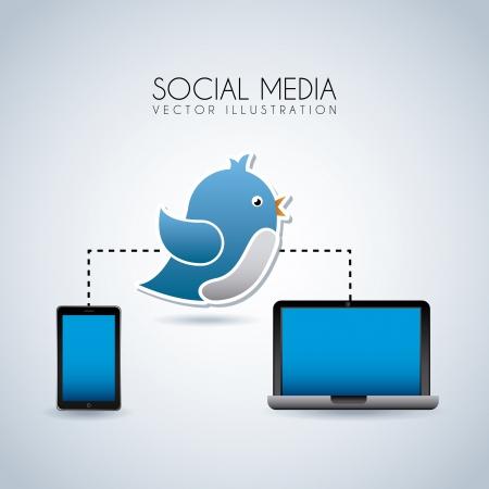 social media over blue background vector illustration Stock Vector - 20499683