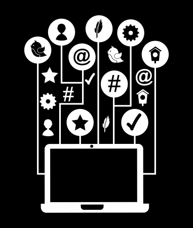 aviary: social media icons over black background vector illustration