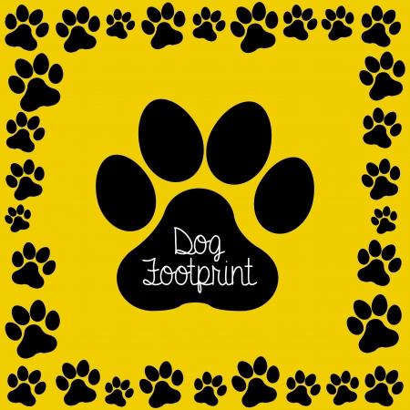 huellas de perro: huella de perro sobre fondo amarillo ilustraci�n vectorial