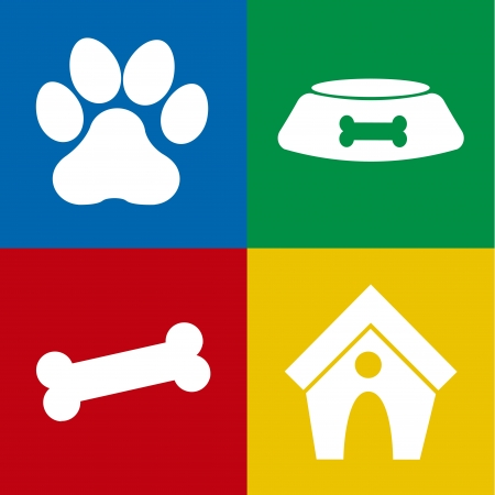animal den: dog icons over colorful background vector illustration