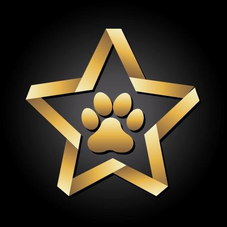 huellas de perro: huella de perro sobre fondo negro ilustraci�n vectorial Vectores