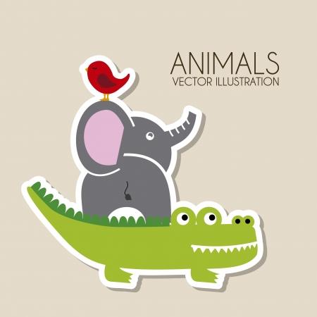 animals design over beige background vector illustration  Vector