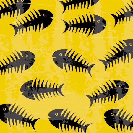 fishbones design over yellow background  Vector
