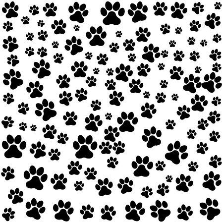 paw: dog footprint over white background vector illustration