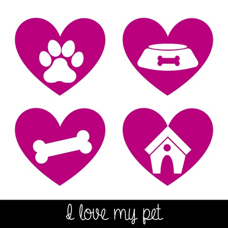 i love my dog over white background vector illustration  Vector
