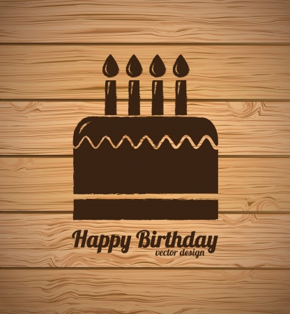 birthday cupcakes: Happy Birthday card over wooden background   Illustration
