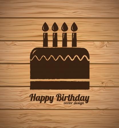 birthday cupcake: Happy Birthday card over wooden background   Illustration