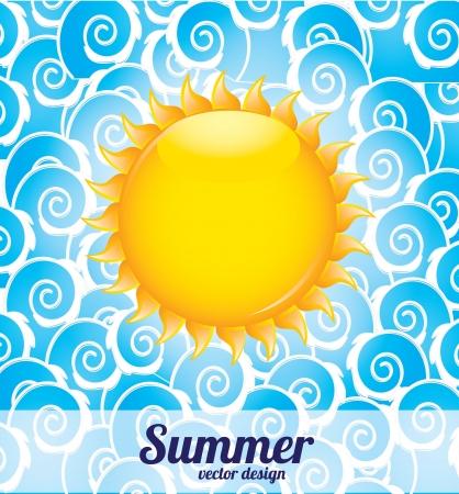 oceanside: summer icons over blue waves  background