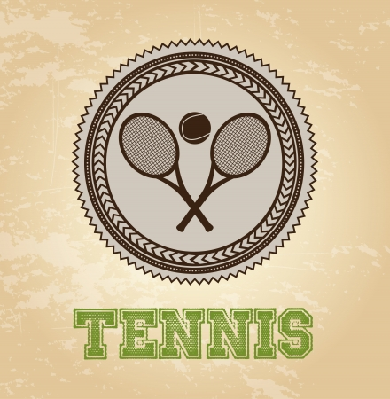 tennis label over vintage background vector illustration Stock Vector - 20500705