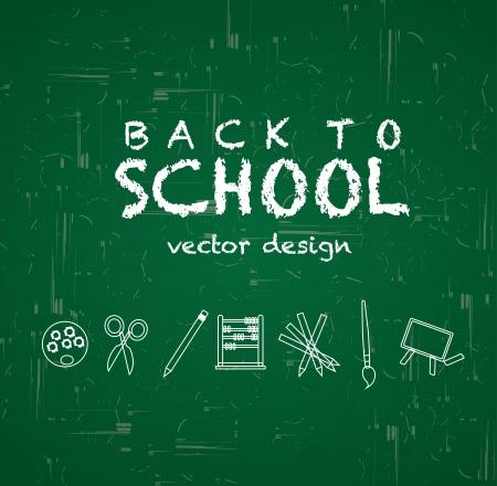 back to school over greenboard background vector illustration  Vector