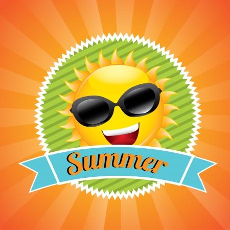 smyle: summer label over orange background vector illustration