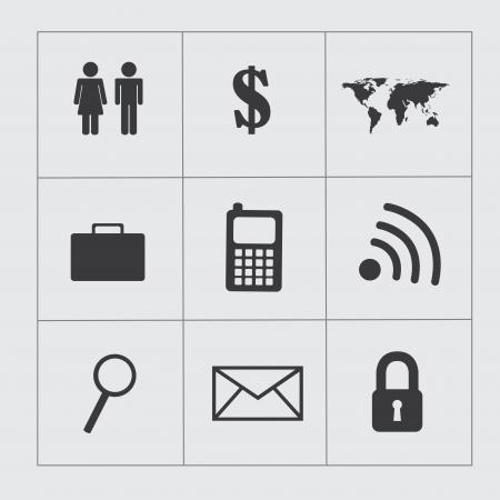 conection: iconos de negocios sobre fondo gris vector illustartion