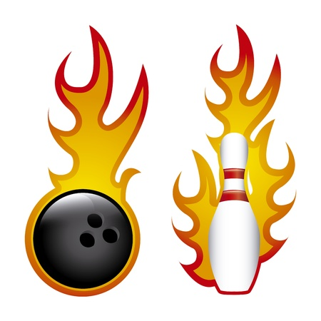 distraction: bowling flames over white background vector illustration  Illustration