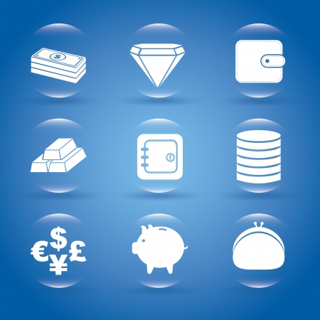 finance bubbles over blue background vector illustration Vector