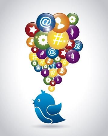 techology: bird social over gray background vector illustration