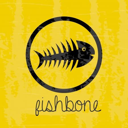 fishbone design over yellow background vector illustration Stock Vector - 20500607