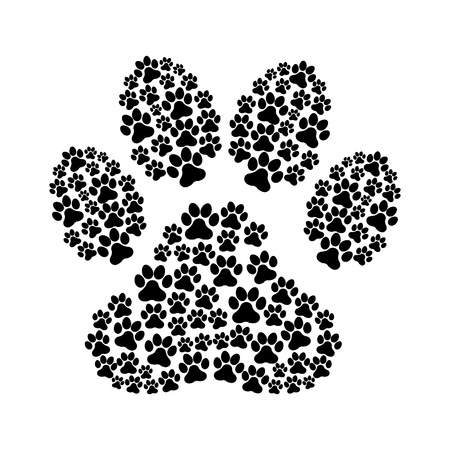 dog footprint over white background vector illustration