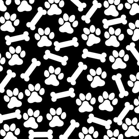 huellas de perro: footdog y huesos sobre fondo negro ilustraci�n vectorial