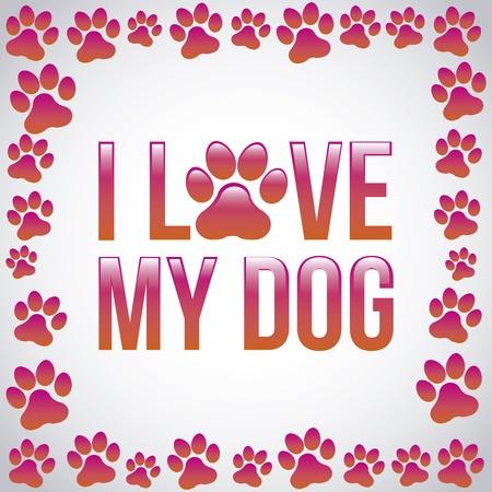 I love my dog ??auf grauem Hintergrund Vektor-Illustration Standard-Bild - 20499163