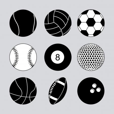 sports balls over gray background vector illustration  Vector