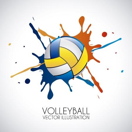 灰色の背景ベクトル イラスト バレーボール デザイン