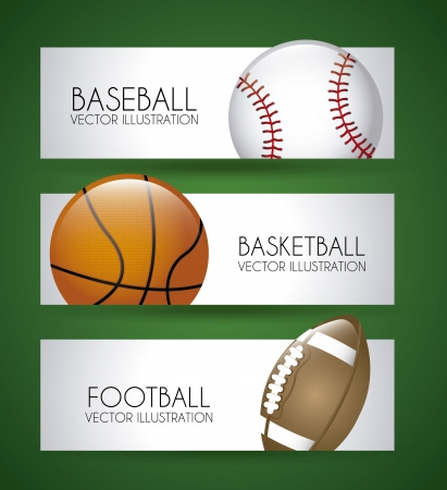 sports labels over green background vector illustration